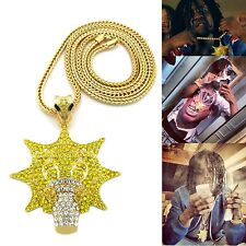"NEW ICED OUT HIP HOP GOLD PLATED CHIEF KEEF GLO GANG PENDANT W/ 36"" FRANCO CHAIN"