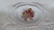 SCHUMANN Panière porcelaine de Bavière BAVARIA décor grappe de raisin Vendanges