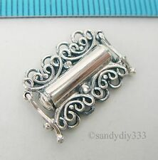 1x OXIDIZED STERLING SILVER 4-STRAND BUTTERFLY BOX CLASP 17.4mm  #2169