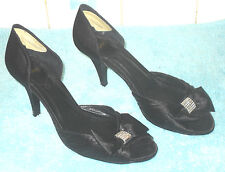 Prom Party Black Satin Peep Toe Bow Heels With Diamante Office Vintage Size 5