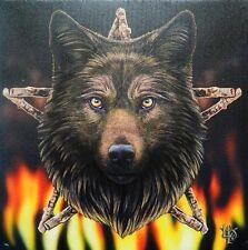 NEW ~ Canvas Wall Plaque ~ WILD FIRE WOLF ~ Lisa Parker ~ Stunning ~Ideal Gift