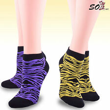 Soxnet Women's Neon No Show Socks - Black Animal Print Low Cut 6-pair Pack NWT