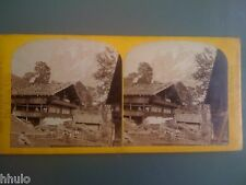 STB939 The Alpine Club Suisse Chalets a Grindelwald photo STEREO albumen 1870