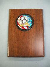 SOCCER plaque wood finish 5 x 7  award trophy partiotic insert