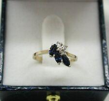Molto bella 9ct Oro Topazio Blu E Anello Di Diamanti TAGLIA K