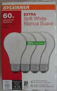Sylvania Extra Halogen 4 Pack 60W/43W A19 Soft White 2750K - USA - Save 2+