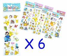Pokemon Pikachu Sticker Sheet x 6 Birthday Party Lolly Bag Treat Box Filler