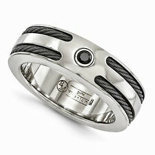 Best Men's Jewelry Gift Titanium Spinel W/Sterling Silver Bezel&Cable 7mm Ring