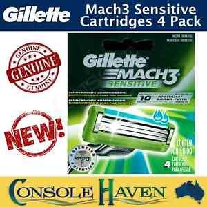 Gillette Mach3 Sensitive Genuine Razor Blade Cartridges x 4 Pack Mach 3 4Pk