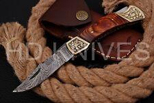 HD knife Handmade Damascus steel Hunting Folding knife brass bolster handle 164