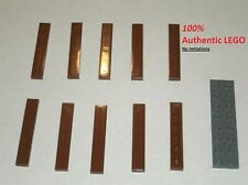 4x Tile plaque lisse 1x6 with Groove marron//reddish brown 6636 NEUF Lego