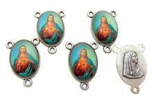 Set of 5 Sacred Heart of Jesus 3/4 Inch Enameled Rosary Centerpiece Parts Italy