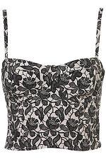 Topshop Black & Cream Shadow Lace Print Bralet Corset Bustier UK 6 EURO 34 US 2