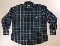 Vintage WRANGLER Western Shirt MEN'S XXL 2XL Pearl Snap Blue Plaid Cut 2-Pocket