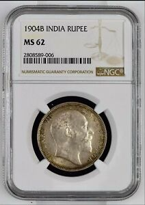BRITISH INDIA 1904 KING EDWARD VII ONE RUPEE NGC GRADED WITH MS62 HARD TO FIND