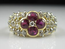 Art Deco Ruby Old European Cut Diamond Ring 18K Yellow Gold Antique 1.64ctw