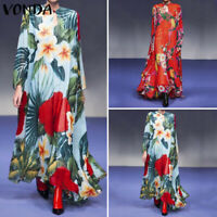 VONDA Women Chinese Style Long Sleeve Dress Vintage Floral Print Long Maxi Dress