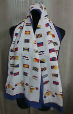 Vintage Made In Italy Polyester Neck Scarf Sailor Rope Knots Flags Suits Print