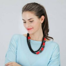 New Fashion Red Black Beaded Necklace Double Strand  Blocks Beads