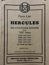 Hercules Qx 6 Cyl Engine Parts Manual Qxa Qxb Qxc Qxd 1947 Sn 700000 To 799999