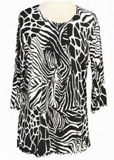 DAISY QUEEN Zebra Womens Tunic Tops with 3/4 Sleeves Covered in Size S-M-L-XL