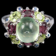 Natural AAA Green Prehnite Ruby Peridot & Cz 925 Sterling Silver Ring Size 6 / M