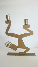 Vintage Hip Hop Breakdancer metal gold painted candle holder 1980 sculpture lamp