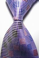 New Classic Checks Purple Pink Blue JACQUARD WOVEN 100% Silk Men's Tie Necktie