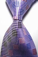 New Classic Checks Purple Pink Blue JACQUARD WOVEN 100% Silk Men's Tie Necktie