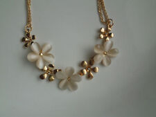 Rose Gold Plated Opal Flowers Rhinestone Necklace