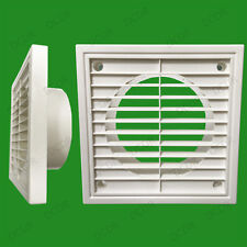 """2x 100mm 4"""" Spigot Ducting White Extractor Fan Ventilation Fixed Louvre Grille"""