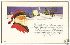Santa in black trimmed cap-   unused Christmas postcard -1920's