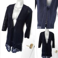 ❤ PER UNA Size 12 Navy Blue Long Semi Sheer Crochet Style Cardigan Top Tie Front