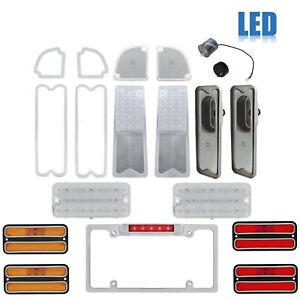 67-68 Chevy & GMC Truck LED Clear Tail Side Marker Park License Light Lenses Set