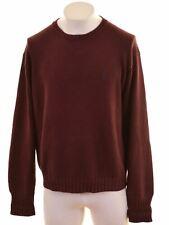 POLO RALPH LAUREN Mens Crew Neck Jumper Sweater XL Burgundy Cotton  GW16
