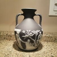 Antique Rare Wedgwood Black Jasper Dip 'Portland' Vase Vintage Antique Greek