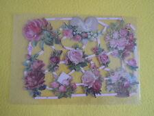 1x Poesiebilder Oblaten 279  Blumen Veilchen Stiefmütterchen Glanzbilder bunt