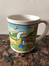 Smurfette Ceramic Mug Cup #1597 that is MISS-PRINTED #1598 Papa!  Vintage 1982