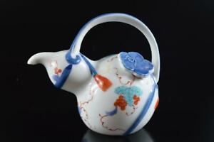 #7547: Japanese Arita-ware Colored porcelain Gourd-shaped TEAPOT Kyusu Sencha