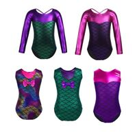 Girls Shiny Mermaid Scale Ballet Dance Wear Leotard Gymnastics Bodysuit Jumpsuit