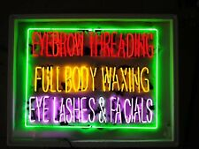 "New Eyebrow Threading Full body Waxing Eye Lashes Facials Neon Sign 32""x24"""