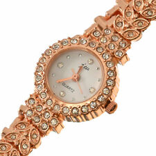 Women's Girls Crystal Analog Rose Gold And Diamonte Slim Wrist Watch Fashion