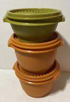 Tupperware Set of 3 Vintage Servalier Bowls 2 Orange 886 and 1 Green 1323 Lids