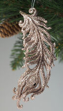 Set Of 6 Large Glitter Feathers Christmas Tree Baubles Decorations - Champagne