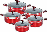 Non Stick Casserole 10 piece with Glass Lid, 20-22-24-26-28 cm In Red