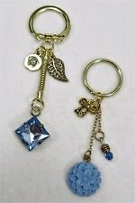 #6387 - BLUE CRYSTAL LEAF & FLOWER CHARM BEADED GOLDTONE KEYCHAIN 2 SET -WOW!