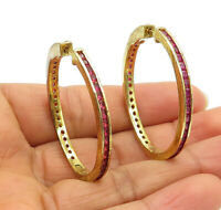925 Sterling Silver - Ruby Gold Plated Shiny Round Hoop Earrings - E7230