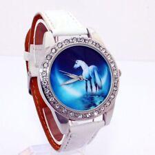Ladies Fashion Silver Blue Crystal Unicorn Design Face White Band Wrist Watch.