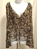 New Free People Black Floral Long Bell Sleeve V-Neck Top Blouse Size S Small