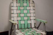 Vintage Retro Sun Terrace Webbed Folding Aluminum Lawn Chair Sky Green & White